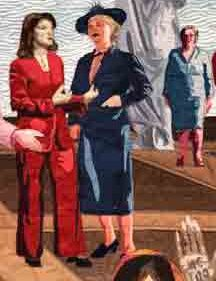 Margaret Sanger in blue suit standing next to Melinda Gates in a red pant suit. They discuss the birth control and reproductive rights for women.