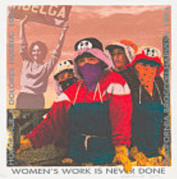 "poster shows women farm workers wearing hats and bandanas over nose and mouth to protect from sun and chemicals. Image of Dolores Huerta holding sign to strike superimposed in background. Border reads, ""Women's Work is Never Done"""