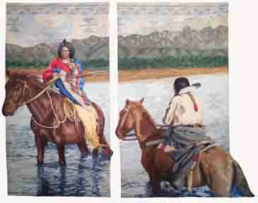 diptych of 2 native American men on horseback crossing a river. On left panel the man turns to look at the viewer. On the the right panel, the man is riding away from the viewer.