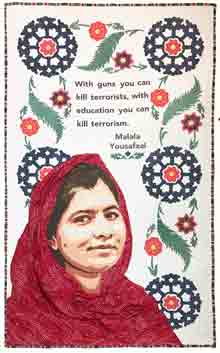 "Portrait of Malala wearing a red scarf with a white background. A Islamic floral border of blue and red flowers with green leaves. The center text is a quote by Malala Yousafzai, ""With guns you can kill terrorists, with education you can kill terrorism."