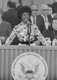 Shirley Chisholm behind lecture, speaking at convention