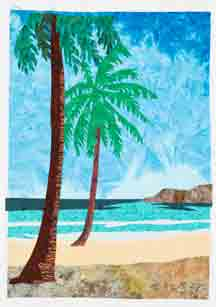 beach scene in fabric with two palm trees on the left and an island at the horizon on the right.