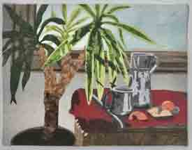 Still life composition with potted tree in front of a window next to a trunk covered by a hand women mat. A tin cup and pitcher sit atop the trunk with a small plate with tangerines. One is peeled and divided.