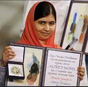 Malala with her Nobel Peace prize