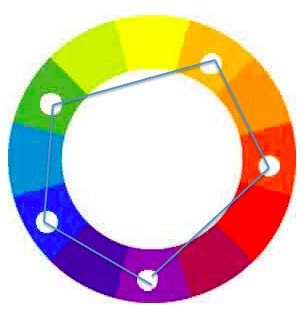 balanced color scheme with blue, green, violet, red-orange, and yellow-orange.