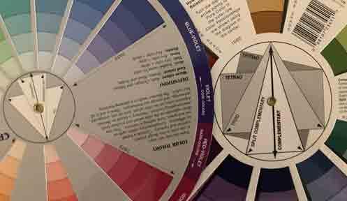 close up of 2 color wheels showing color scheme guides